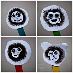 Mushroom spore print monkey puppets! Fun science craft for kids!