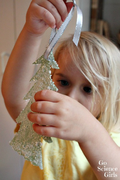 Snowy fir tree Christmas ornament made with salt crystals