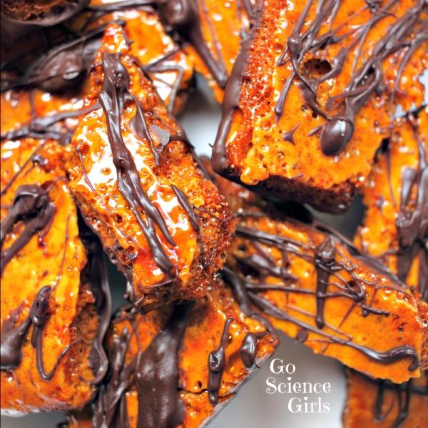 Golden honeycomb edible science