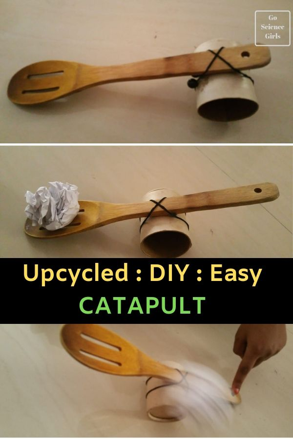 Easy DIY Upcycled Catapult - fun science activity you can do at home, indoors or outside. Great STEM activity for kids