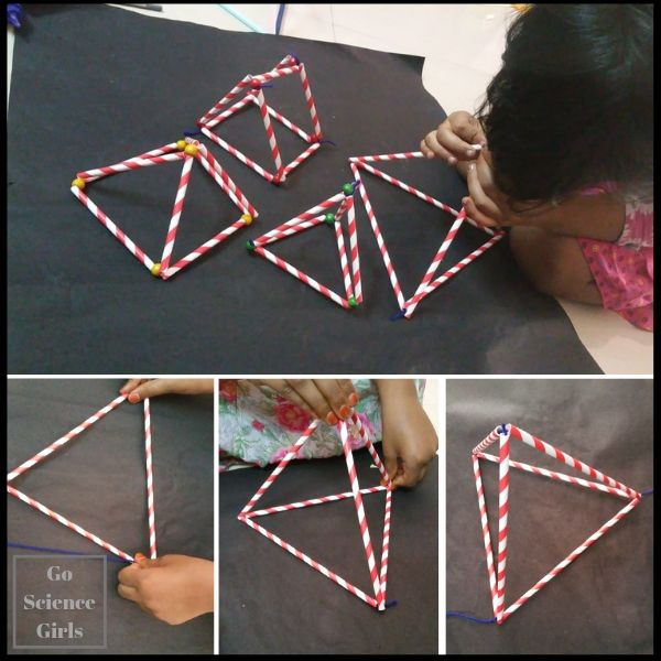 Hands on geometry learning about pyramids and triangular prisms Fun STEM for kids