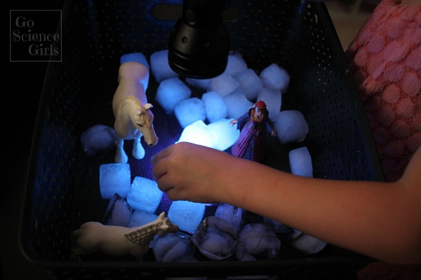 Sensory play meets science with easy non-toxic (edible) ice cubes that glow!
