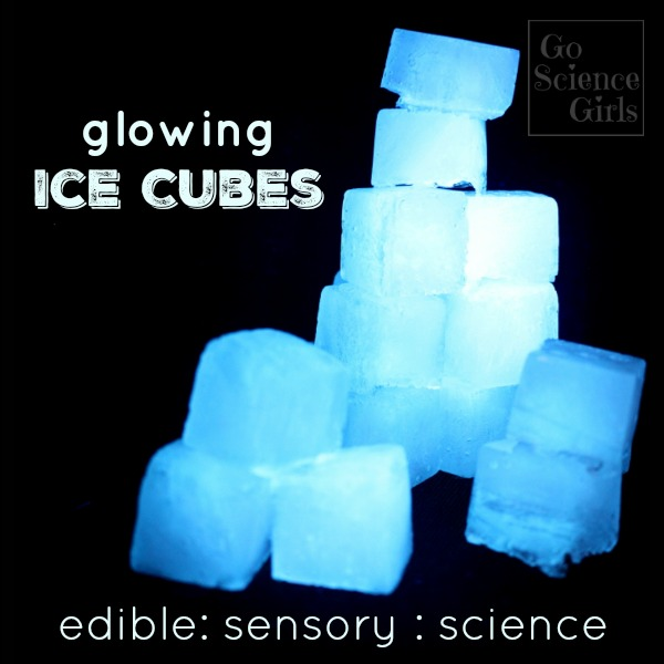 fluorescent glowing ice cubes for edible, sensory play, science fun for kids