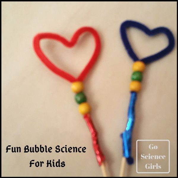 How to make heart shaped bubble wands and some fun bubbles science for kids