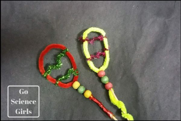 Twist pipe cleaners onto chopsticks