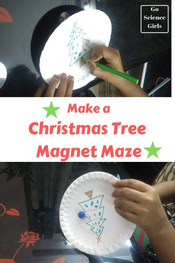 Design a Christmas tree magnet maze Christmas STEAM activity for kids