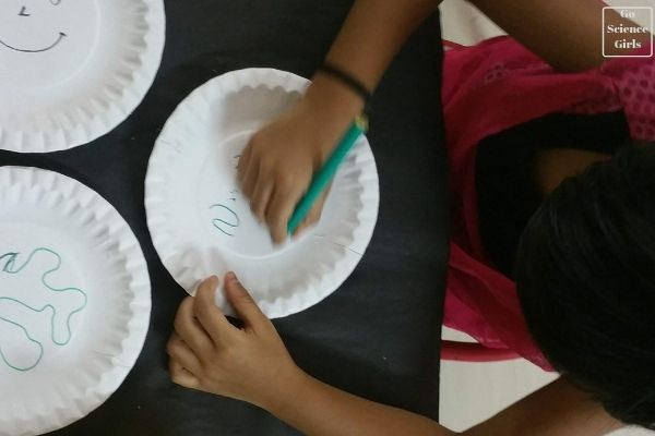 Drawing a paper plate magnet maze
