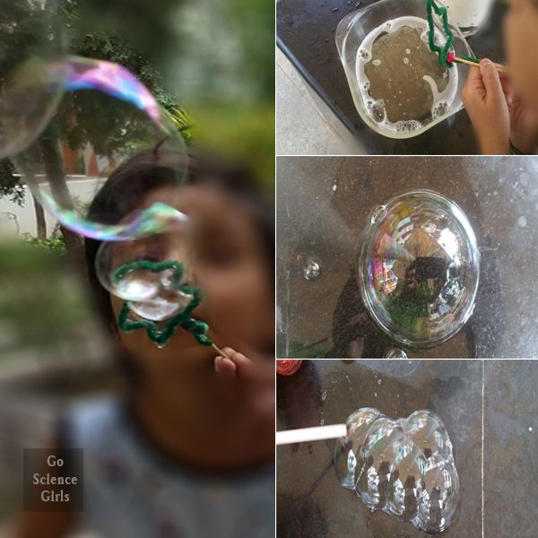 Make a Christmas tree bubble wand and explore bubble science through play. Christmas STEM for kids.