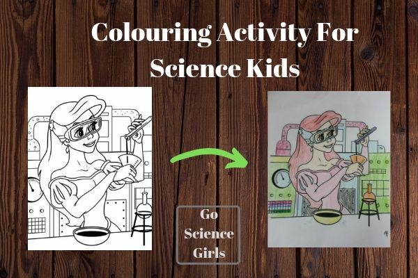 Ariel as a Scientist colouring in - encouraging girls in STEM