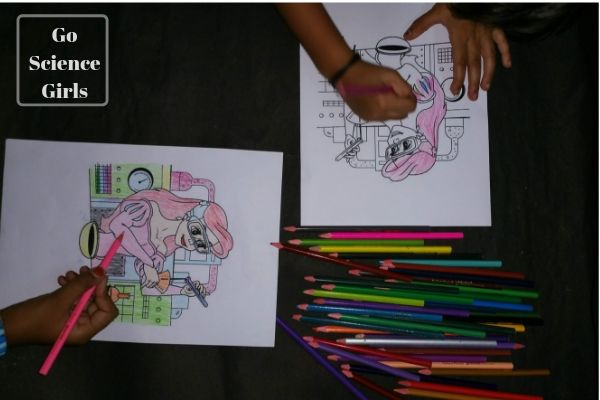 Girl colouring in Ariel (from The Little Mermaid) as a Scientist picture