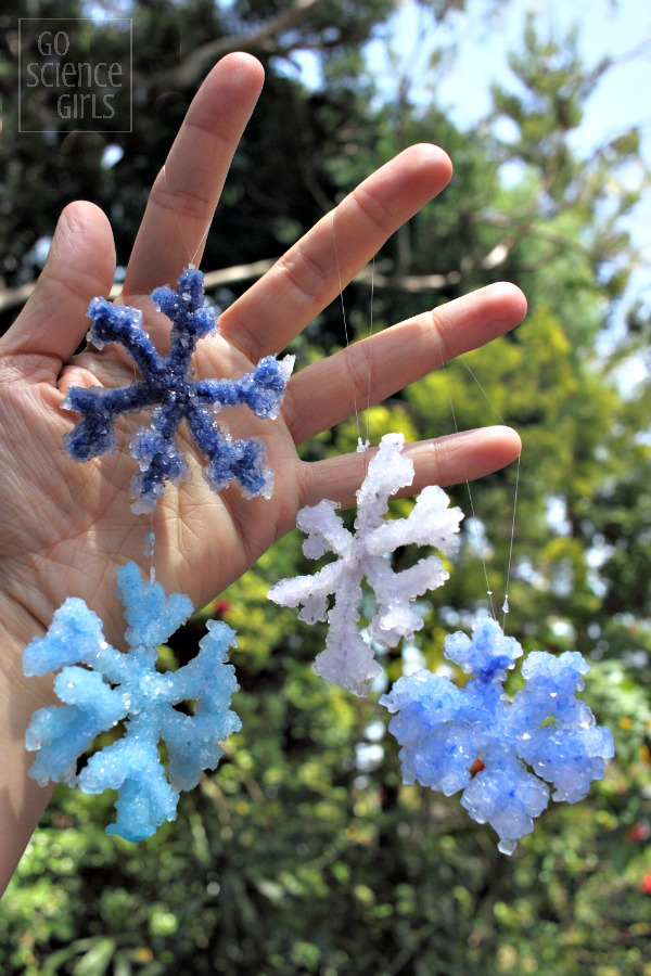 Beautiful Borax crystal snowflakes - science for kids