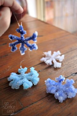 Borax crystal snowflake ornaments