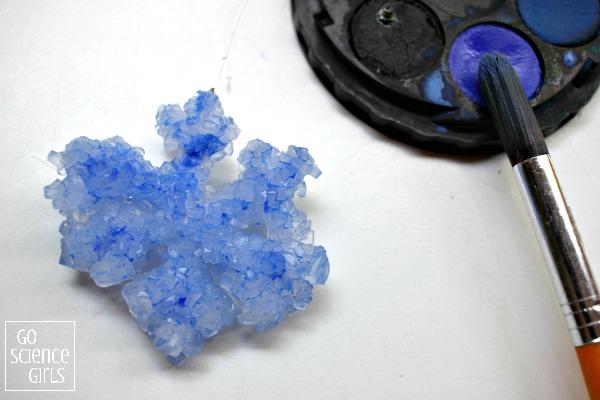 Painting Borax crystals