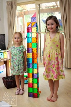 Measuring height with Magna-Tiles is a fun way to explore math and measurement at home