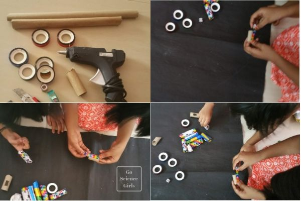 Decorate toilet paper rolls with washi tape stick on magnets to create a magnetic marble run for the fridge door