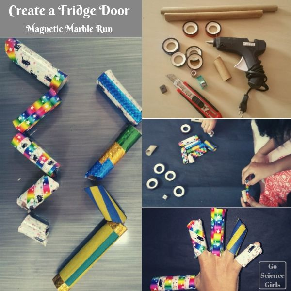 Make a DIY magnetic marble run - for your fridge door!