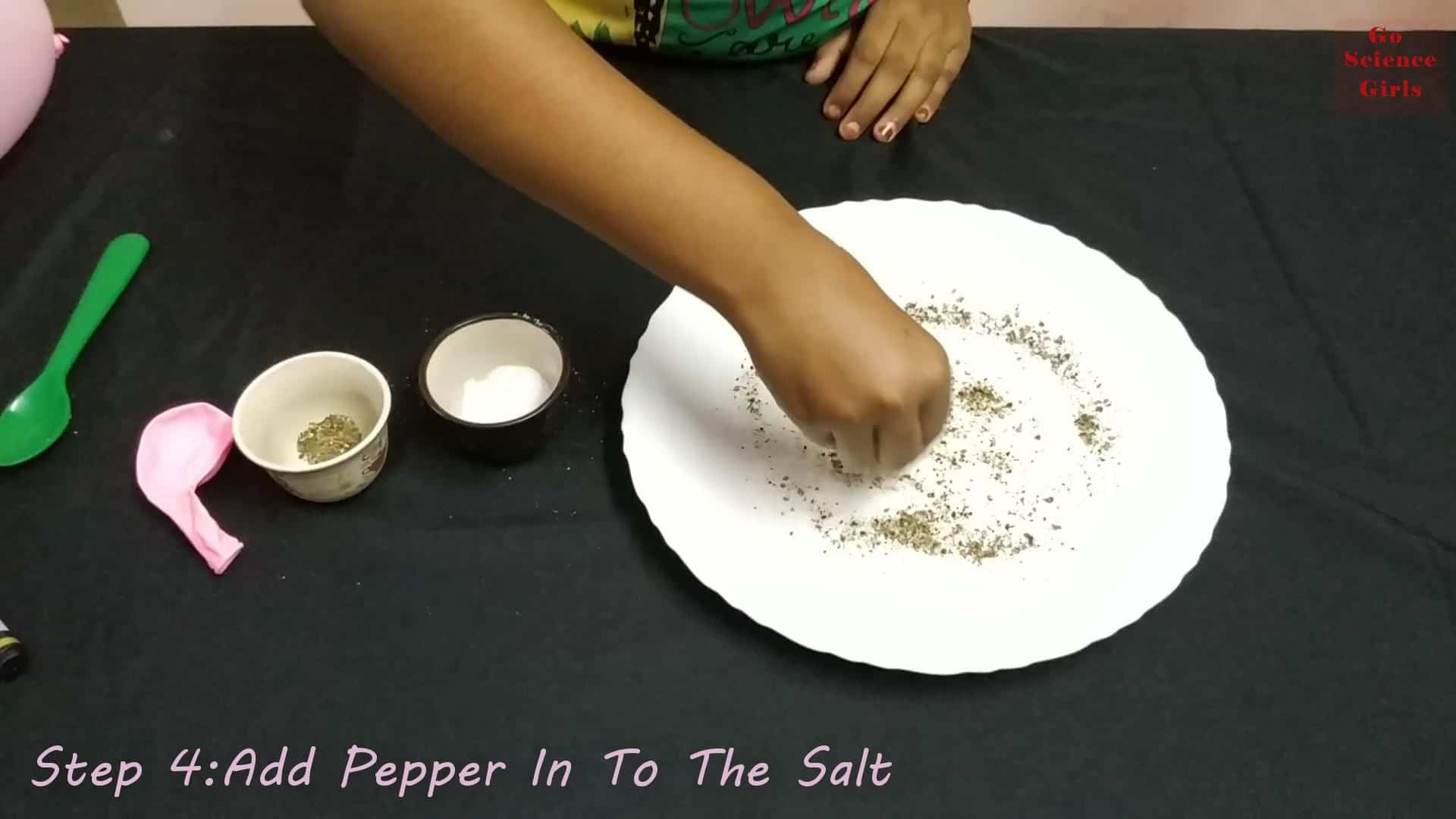 Add Pepper In To The Salt for Static Science Experiment