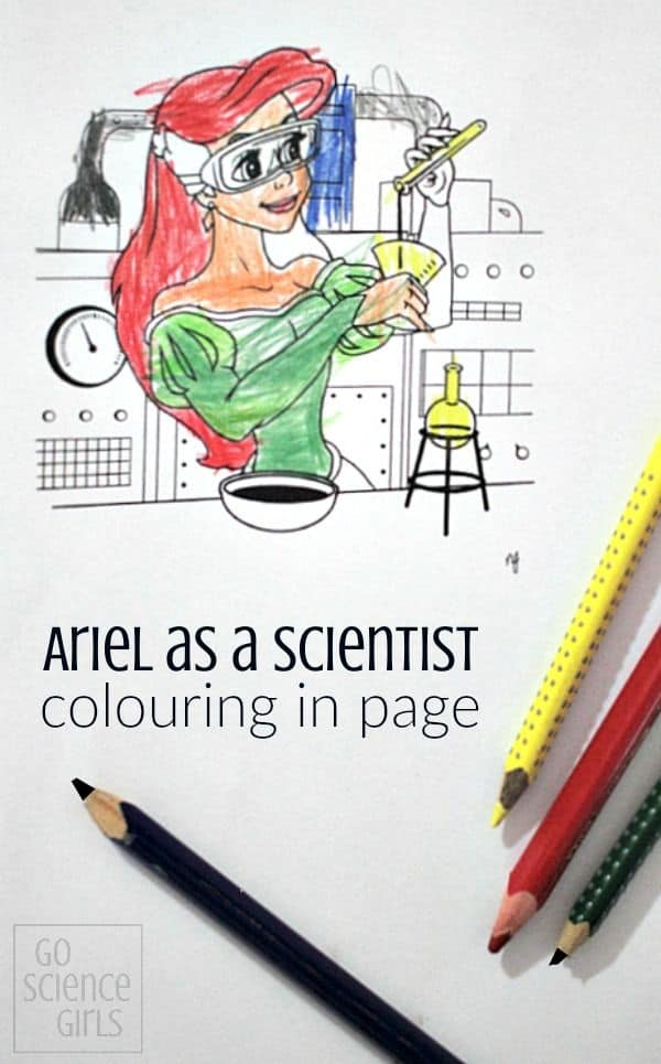 Ariel as a Scientist colouring in page - encouraging girls in STEM
