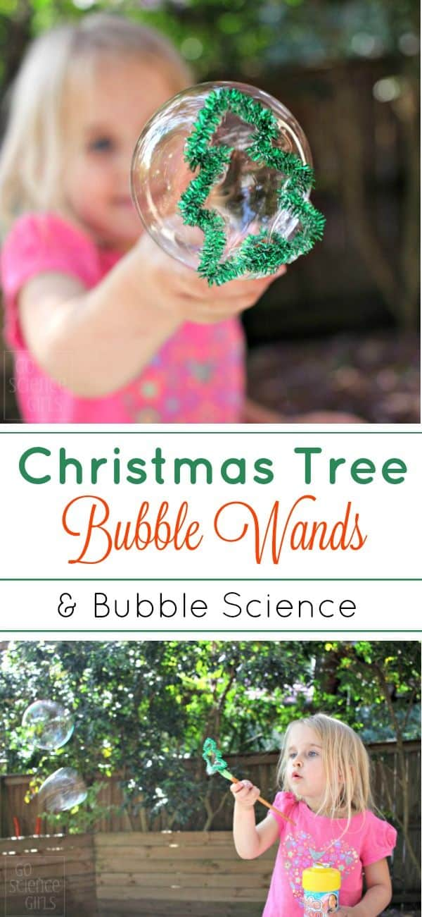 Tutorial for how to make DIY Christmas tree bubble wands - fun Christmas science craft (STEM/STEAM) activity for kids!