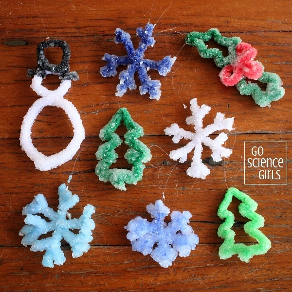 DIY Borax crystal Christmas tree ornaments - Christmas STEM project for kids | Science craft
