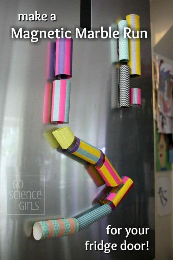 DIY magnetic marble run for the fridge