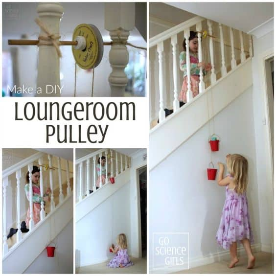 Make a DIY Loungeroom Pulley - for physics science fun and learning through play