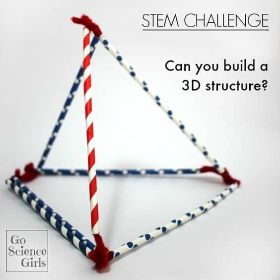 STEM Challenge. Can you build a 3D structure with just straws and pipe cleaners? Fun hands-on engineering and math.