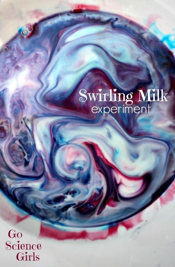 Swirling Milk - fun science experiment for toddlers and up