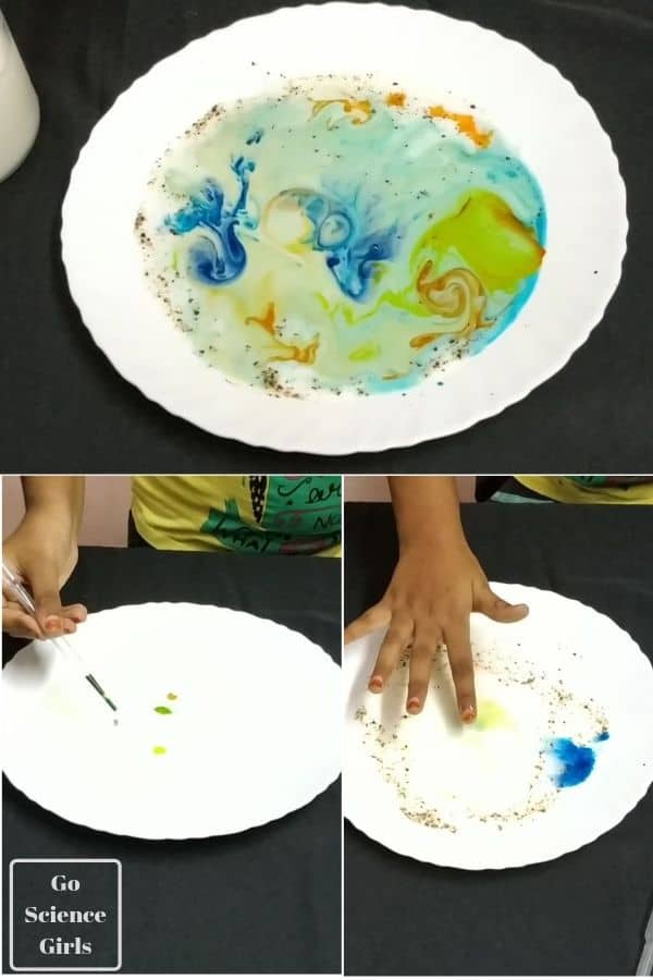 swirling milk science activity for toddlers and preschoolers