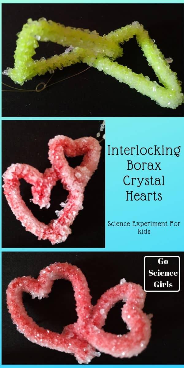Interlocking Borax Crystal Hearts