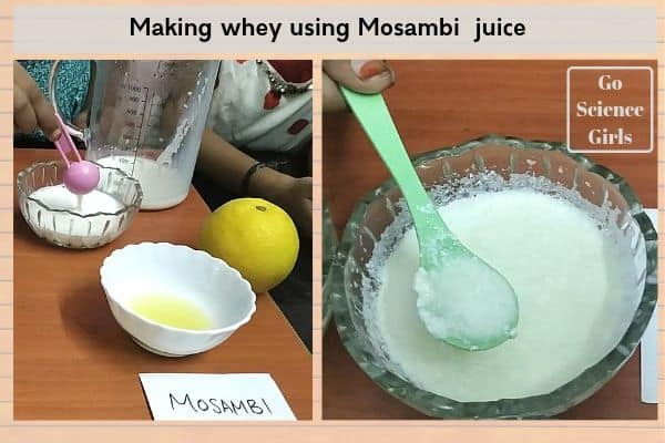 Making whey using mosambi juice