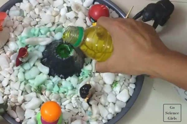 Adding soap liquid volcano