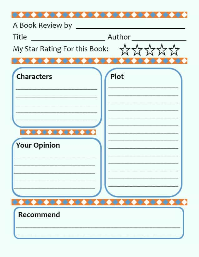 book review template for childrens books