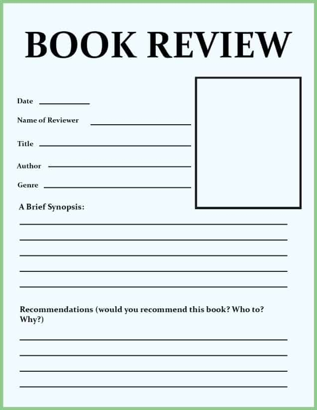 book review template for middle school
