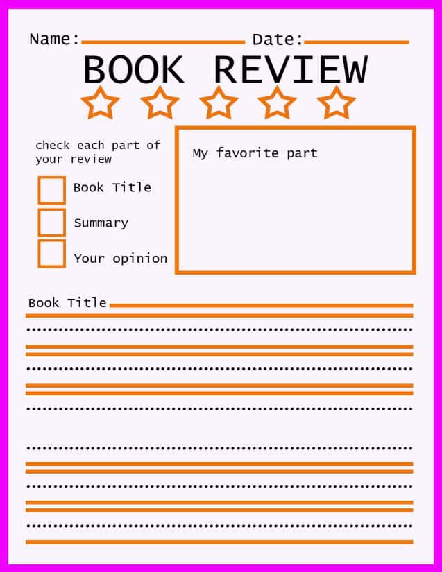 book review template for year 5