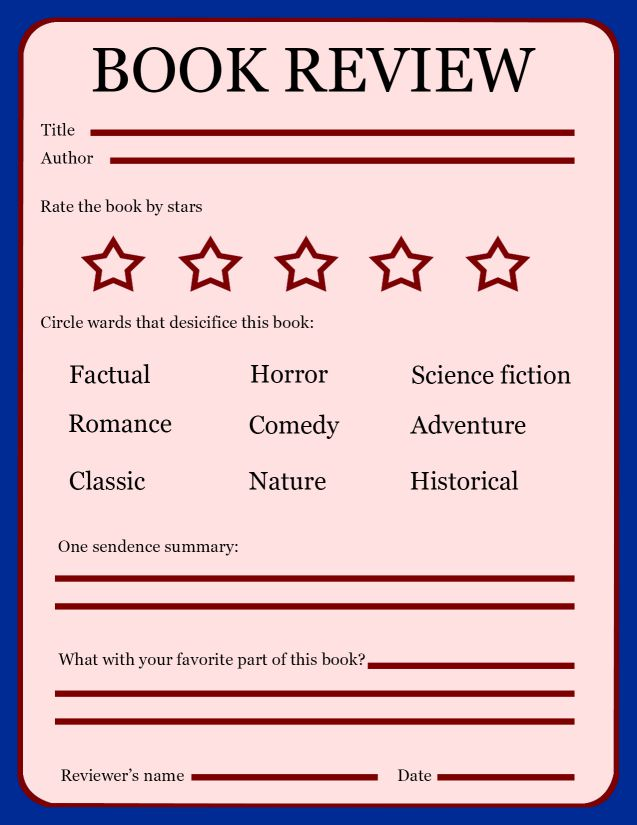 book review template ks1