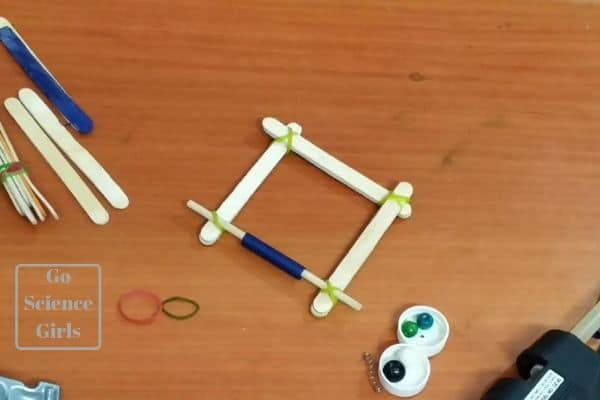 catapult base with sticks and rotating shaft