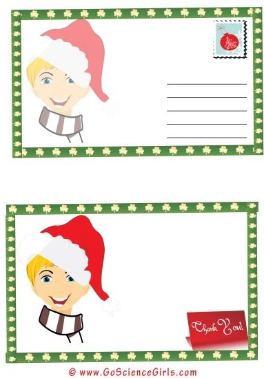 picture relating to Christmas Thank You Cards Printable Free titled No cost Postcard Template for Children (For Xmas, University