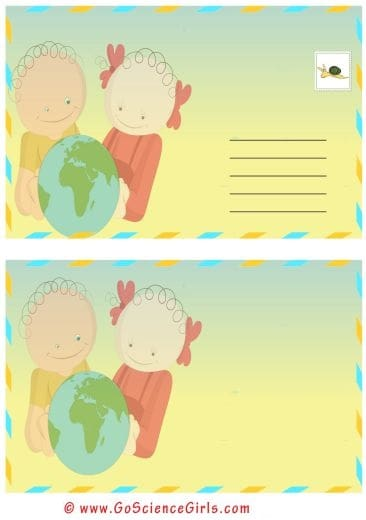 post card template for kids