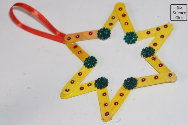 Hanging Popsicle Stick Christmas Stars