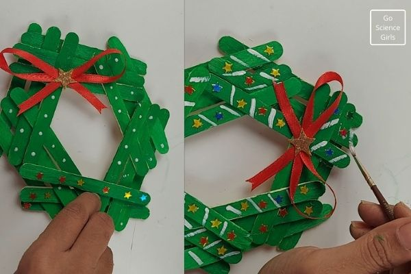 DIY Popsicle Stick Wreath Christmas ornaments