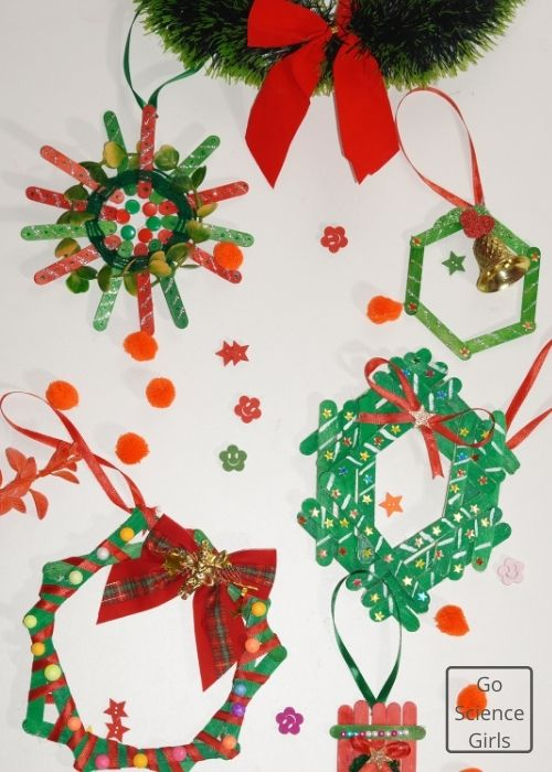 Popsicle Stick Wreath Christmas Craft Ideas